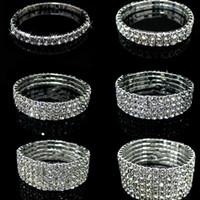 Wholesale New Silver Shiny Crystal Rhinestone Infinity Bracelets Fashion Charms Jewelry Bangle Bracelets For Women Wedding Party Supplies