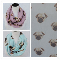Wholesale Colors Cute Pug Head Print Infinty Scarf Big Size Dog Animal Loop Ladies Fashion Loop Ring Scarves