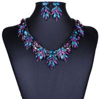 al por mayor collar verde púrpura-Al por mayor-caliente del pavo real verde púrpura africanos Joyería Mujeres Crystal joyería elegante traje de boda Set Cadena Shourouk collar fornido regalo