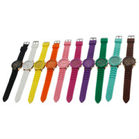 Wholesale Fashion wristwatch Shadow Rose Gold Colored Style Geneva Watch Rubber Silicon Candy Jelly Fashion Men Wamen Silicone Quartz Watches