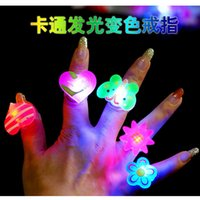 Wholesale 50pcs Birthday Party LED Glowing finger rings favors Cartoon Flashing Ring Light for Kids toys Events Party Favors