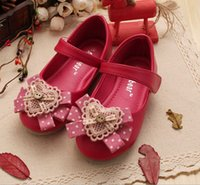 color shoe laces - 4 Color Spring Girls PU Leather Shoes Lace Bowknot High Quality Child Kids Girl Magic Tape Party Dance Dress Flats DHL EMS K3799