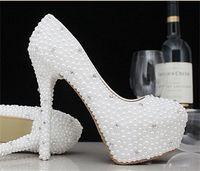 beige kitten heel - 2015 Shining White Beige Women Shoes High Heel Elegant Handmade Crystal Wedding Shoes Ladies Imitation Pearls Party Pumps