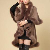 al por mayor mujeres chaqueta s abrigos de piel-Al por mayor-Lujo Mujeres Abrigo de piel sintética de la capa caliente de la chaqueta de suave ropa de invierno del cabo del capote
