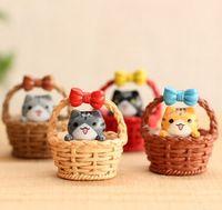 basket drawing - Cute artificial basket cat Ornaments miniatures for fairy garden gnome resin crafts bonsai bottle garden decoration