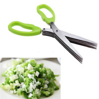 Wholesale Multi functional Stainless steel kitchen knives layer scissors shredded cut herb scissors Spices scissors