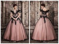 al por mayor bola victoriano vestidos de boda del vestido-2015 novia vestidos Vintage de lujo avestruz plumas negra reina gótica victoriana de Halloween vestido de novia vestidos de noche