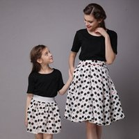 Wholesale 2015 New Summer Family Matching Outfits Skirt Mother and Daughter Dress Family Clothing High Quality Family Short Sleeve Skirt
