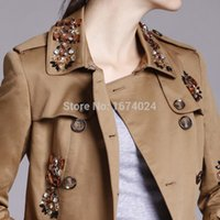 beaded trench coats - London Luxurious Designers Double Breasted Jewel Trench Coat Fashion Women s Camel Beaded Embellished Belted Trench Coat