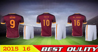 uniform shirts - 2015 ROMA Embroidery Red Home Customize DIY Totti De Rossi Football Kit Uniform Men Summer Sports Shirt Outfit Soccer Jersey Set