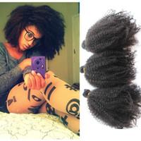 afro kinky human hair - Unprocessed indian brazilian malaysian peruvian virgin human hair weave mongolian afro kinky curly hair g pc natural black