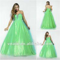 Cheap Vnaix P0086 Beaded Sweetheart Lace Up Back Tulle Aqua Long Prom Dress 2014