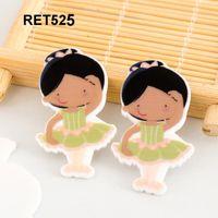 ballet material - RET525 mm Kawaii cute Ballet Girl Flatback cartoon resin planar DIY handmade materials