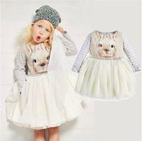 adorable animal kid - Kids Girls Spring Adorable Cute Dress Bunny Print Tutu Dress Western Long Sleeve Stripes Casual Dresses Sweet Kids Dress