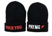 Cheap Hip-Hop Unisex Fuck You Pay Me Beanies Wen's Women's Winter knit Cotton wool Hats warm caps Snapback caps 1pcs lot