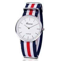 brand name watches - New Geneva Quartz Watch Stripe Nylon ultra thin Band Men Fashion Dress Watches New Brand Name Wristwatches Best Quality