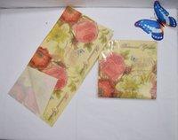Wholesale Medium Food grade Romantic Rose Paper Napkin Festive Party Tissue Napkin Supply Decoration Flowers Party Paper Napkin X33CM