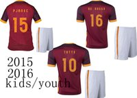 kids football shirts - Top quality Roma Kids jersey soccer TOTTI roma youth home red jersey DE ROSSI PJANIC children s football shirt