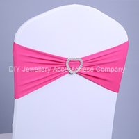 Wholesale 100 heart spandex lycra chair bands elastic chair sash with buckle for wedding