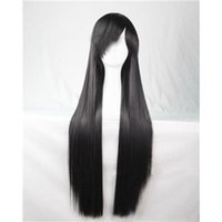 Cheap 80 Cm Wigs Heat Resistant Harajuku Anime Cosplay Wigs Young Long Straight Synthetic Hair Wig Fashion Black Cheap Wigs 15 Colors Mix Order