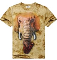 men shirts and ties - 3D digital tie dye high quality print Elephant Tee t shirts super quality workman for gift and souvenir M XXXL size