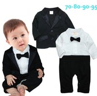 Wholesale New Boy onesies Gentlemen Bow Tie Long Sleeve Jumpsuits Black Coat
