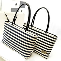 beach ladies handbags - 2016 Hot Sale Shoulder Bags Women s European and American Fashion Striped Canvas Casual Lady Beach Bag Handbags ZB0170 Salebags