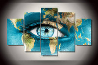 Cheap 5Pcs With Framed Printed world Map of the face Painting on canvas room decoration print poster picture canvas mad max
