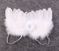 feather butterflies - newborn photography props baby fabric flower lace headbands puffy angel wings costume infant white fairy feather butterfly wing suit gift