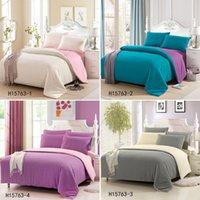 Wholesale 4pcs Stylish Sanding Color Bedding Set Comforter Bedclothes Suit Queen Size Duvet Cover Bed Sheet Pillowcases Home Textiles order lt no tr
