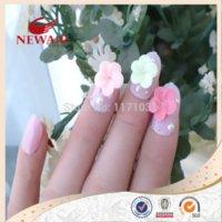 Wholesale 2014 Brand New Girls Beauty D False Nail Art Tips Oval Crystal Fake Nails Full Cover Tips Adhesive Nails Pre glue