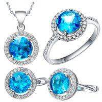 Wholesale 925 Sterling Silver Jewelry sets crystal set round Micro inlaid CZ jewelry Sapphire stone earrings necklace pandant rings silver chain
