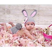 Wholesale Infant Knitted Clothing Set Cute Baby Rabbit Costume Hats Trousers Crochet Photography Props Month Newborn Toddler Clothes