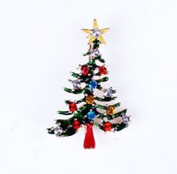 christmas brooch - Lovely Style Gold Plated Alloy Enamel Rhinestone Star Christmas Tree Pin Brooch