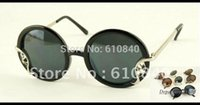 amber leaf - 2012 Newest aevogue Retro Style Round frame Leaf shape Alloy decoration brand sunglasses women unisex sun glasses DT0212