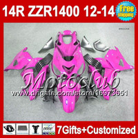 7gifts para Kawasaki 12 13 12 13 NINJA ZZR1400 12.13 ALL Rosa 2C5130 ZX14R ZZR-1400 2012 2013 2012 2013 ZZR 1400 Carenado ALL rosa brillante