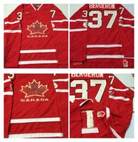 Cheap Mens #37 Bergeron Red 2010 Canada Team Vancouver Winter Olympic Hockey Jerseys Ice International Sports Stitched Premier Authentic Sports