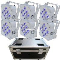 Wholesale 6PCS with flighcase Wireless Battery Powered LED Par Light RGBWA UV Lighting in1 Color Dj Wash Light DJ Lights hot