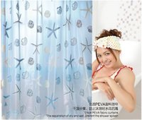 Wholesale Large size Waterproof Starfish Waterproof Bathroom Shower curtain toilet curtain For the Bathroom Retail
