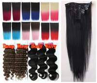 Wholesale Clip In On g Bags Indian Remy Human Hair Extensions Yaki Wavy Black Brown Blonde Piano Highlight Mix Ombre Color
