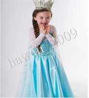 Cheap 2014 New Arrival Frozen Princess Dresses Blue Elsa Dresses With White Lace Wape Girls New Fashion Frozen Dresses Cosplay Costume