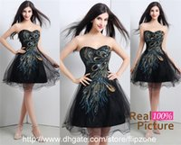 Cheap 2015 Classic Black A-Line Short Prom Dresses with Strapless Sweetheart Peacock Tulle Mini Homecoming Dress Formal Gowns 16102 Real Image HOT