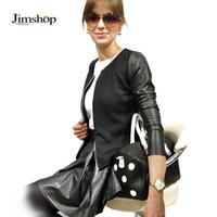 Precio de Leather jackets-Jimshop nuevas mujeres adelgazan PU Casual cremallera larga elegante de la manga de la blusa superior con estilo Outwear Parka chaqueta de la capa del envío libre