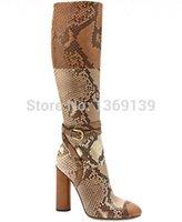 achat en gros de véritable genou en cuir bottes hautes-Gros-2015 New Sexy femmes genou haut Crocodile de cuir véritable ou imprimé serpent Bottes Femme couleur mélangée Bottes Chaussures Femme