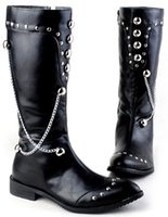 shoe chains - Fashion Men s Knee High Boots Punk Chains Rivets Patent Leather High Top Shoes Casual Outdoor Martin Winter Boots US Size