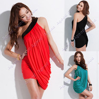 Wholesale Women Sexy Off Shoulder Cocktail Evening Club Mini Dress Black Red Green Milk Silk Elegant