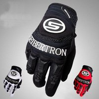 Wholesale Seibertron Cycling Gloves Bicycle Gloves Red White And Black Full Finger Gloves Microfiber Fabric Solid Color Silicone Finger Grips Dirtpaw