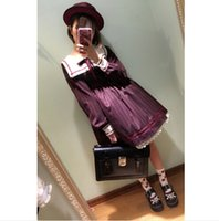 japanese dress style - 2016 Mori girls Japanese style sailor collar long sleeve stripe bowknot dress Lolita cosplay costumes uniform vestidos