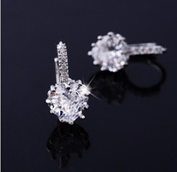heart wedding jewelry - 2015 Korean Fashion womens Hoop heart wedding Earings k Gold platinum Plated Garnet Crystal Huggie Earring jewelry for Women E004