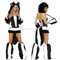 animal pajama adult - w1031 Halloween adult Sexy Skunk Costume furry animal kigurumi Cosplay for women Night Club winter wear pajama party dress kit